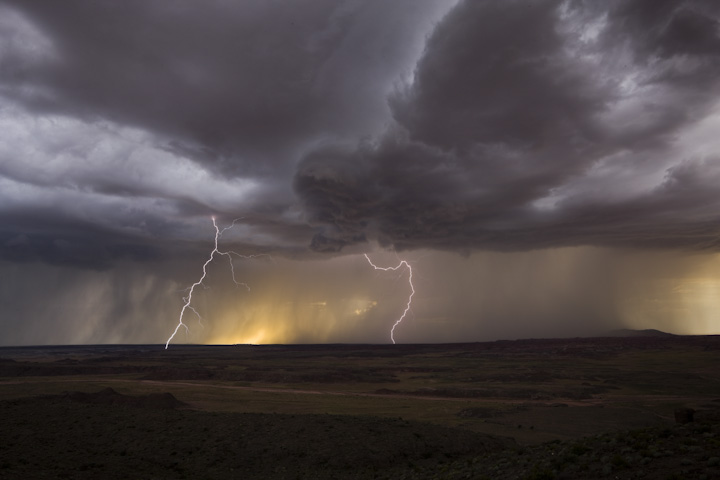 Lightning across the Lithodendron Wash.   © Joe Decker, created during an artist residency at Petrified Forest National Park