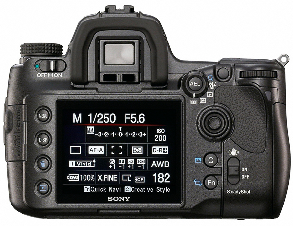 Relatively uncomplicated, the Sony a900 is also very convenient in operation thanks to the Quick Navi sub-menu available by pressing the Fn button. That allows access to all of the features shown on this screen minimizing the need to use buttons and dials or to access the full Menu.