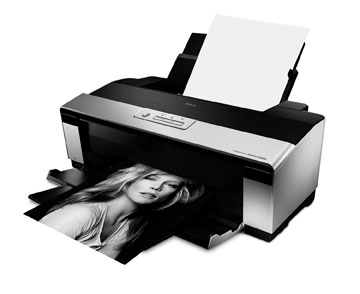 Epson Stylus Photo R2880 Inkjet Printer. A topnotch performer, consistent, reliable, producing prints with amazing clarity, detail, and a rich tapestry of color. And it's relatively quiet in operation. Fairly fast, as well. On top of that, you have the option of sheet-fed or roll-paper operation, with included roll paper holders (for panoramics,for example).