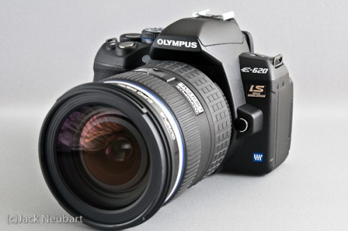 Olympus E-620 with 12-60mm SWD lens (front view). The E-620 proves that the Four Thirds format is not simply a fly-by-night attempt to improve the genre. This digital format will be here for a very long time. The 12-60mm SWD lens is a good choice as a first lens. But I do think it's overpriced. Copyright  ©2009 Jack Neubart. All rights reserved.