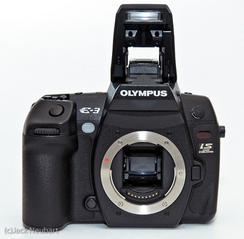 Olympus E-3 front. The Olympus E-3 looks, feels, and works like a pro-level camera. The only thing that detracts from that impression is the built-in flash. On the other hand, it's nice to have on occasion. Copyright  ©2009 Jack Neubart. All rights reserved.