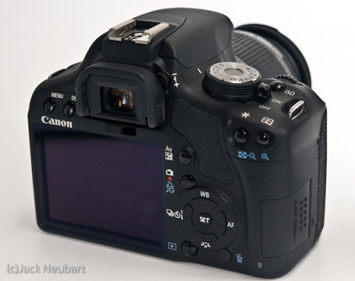 Canon Rebel T1i--rear. The most used functions are clearly labeled; more esoteric functions may be foreign to those new to Canon cameras. The camera, however, does provide clues on the data screen as to what various functions do. Still, clear labeling would be better. Copyright  ©2009 Jack Neubart. All rights reserved.