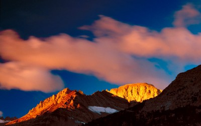 Clouds Forming in Alpenglow, Eastern Sierra, California