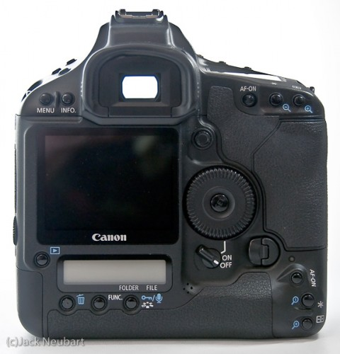 Canon EOS 1Ds Mark III - back. As you can see, this camera has lots of buttons, and not all of them readily accessible without diverting attention away from the subject. The large color monitor can be used for live view, but only with manual focusing, which, in my view, defeats the purpose of this feature. Copyright  ©2009 Jack Neubart. All rights reserved.
