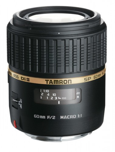 Tamron SP AF60mm F/2.0 Macro. This APS-C macro is one stop faster than others in its class, and balances nicely when attached to the camera. Optically, it performed admirably. Courtesy of Tamron.