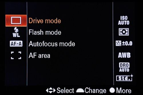 Function Sub Menu: Press the Fn button to reveal a single screen for making settings in the most important functions.