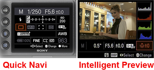 While the A850 is equipped with a series of analog controls, the Quick Navi screen provides quick access to many features. Note too that the camera offers a very useful feature, Intelligent Preview, a temporary image that changes to reflect the modifications made exposure, White Balance and the DRO level.