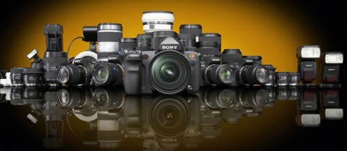 While some of the lenses are primarily for use with the small sensor cameras, the Sony system is expanding. In fact, several new full-frame lenses have been introduced since this photo-the most recent available-was taken.