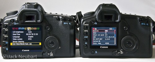 "5D Mark II vs. 5D - menu/back panel. The back may not appear that different on the two cameras, but the menus and LCD scream ""notice me!"" (You'll get the ""scream"" part when you get to the later shots). Copyright  ©2009 Jack Neubart. All rights reserved."