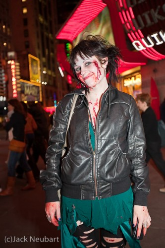 "A typical night in New York City. It turns out that the movie Zombieland was premiering nearby and everyone came dressed for the occasion. I obviously used flash (Canon 430EX) for these shots. The 16-35 lens was at 16mm for the ""I almost got bit by a zombie"" shot; 35mm for the others. Copyright  ©2009 Jack Neubart. All rights reserved."