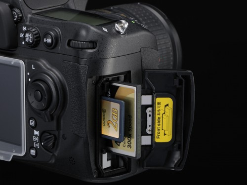 <strong>Nikon D300S-card slots.</strong> To my way of thinking, the most outstanding new feature on the D300S is the dual-slotted memory card compartment. It now holds both CF and SD, which can work in tandem. <strong> <i>Photo courtesy Nikon.</strong> </i>