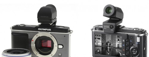 The Olympus Micro Four-Thirds E-P2 and Panasonic's Lumix DMC-GF1 accept an electronic viewfinder accessory, useful for those who do not want to compose images using the LCD screen. Granted, this type of device does make the cameras larger and slightly heavier.