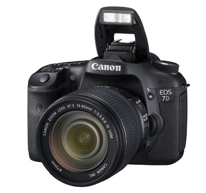 The 7D is shown here with built-in flash ready for action, with EF-S 15-85mm lens attached. I hadn't worked with this lens, but the camera itself should be a model for future EOS designs. Canon photo.