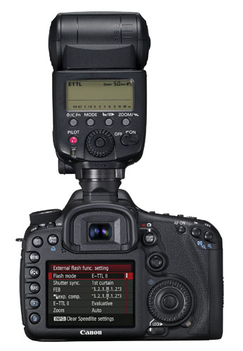Canon 7D-back. Here you can see one of the many menu screens, this one governing the 580EX II flash seated in the hot shoe. Canon photo.