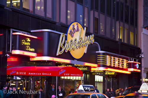 Metering and Shooting Modes. I photographed the Brooklyn Diner and Radio City Music Hall with the 7D in Programmed autoexposure mode, while I captured St. Patrick's Cathedral by setting the camera to Manual. For the diner I used a +1.33 EV override (f/2.8, 1/20 sec), and +0.67 EV for Radio City (f/2.8, 1/15 sec). Switching to Manual (f/2.8, 1/4 sec) did away with trying to second-guess exposure overrides. Camera was set to ISO 400 for each exposure, with image stabilization on the lens switched on.  ©Jack Neubart. All rights reserved.