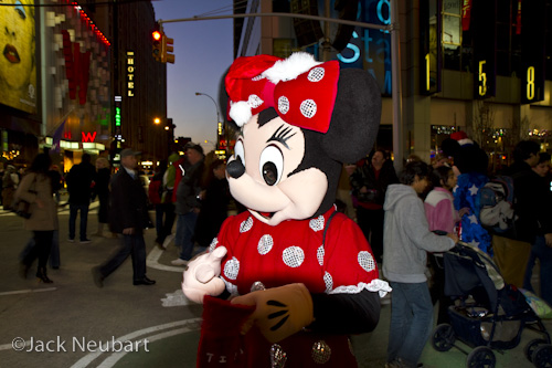 Using the Built-in Flash. I was in Times Square one evening when I came upon this popular cartoon character posing with tourists. I employed the camera's built-in flash, with the 17-55mm lens and lens shade attached. Note that the lens/shade combo blocks the flash. Exposure made with the camera in Manual mode.  ©Jack Neubart. All rights reserved.