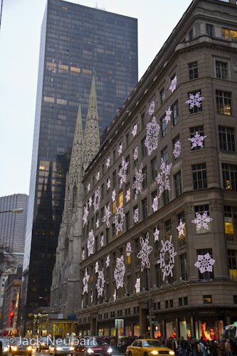 I just wanted to show Saks Fifth Avenue and St. Patrick's Cathedral in relation to each other. You'll see Saks featured in my Light Show Christmas video on Vimeo.  ©Jack Neubart. All rights reserved.