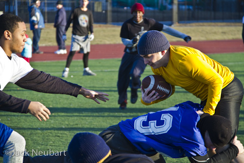 Amateur Football with Continuous Autofocus. I captured this series with the 7D and 18-200mm IS lens with the lens at 200mm (= 320mm) for most shots, except the tackle (lens at 130mm). Note the rapid sequence-do you really need a faster burst rate? I had to adjust white balance for this entire series in particular.  ©Jack Neubart. All rights reserved.
