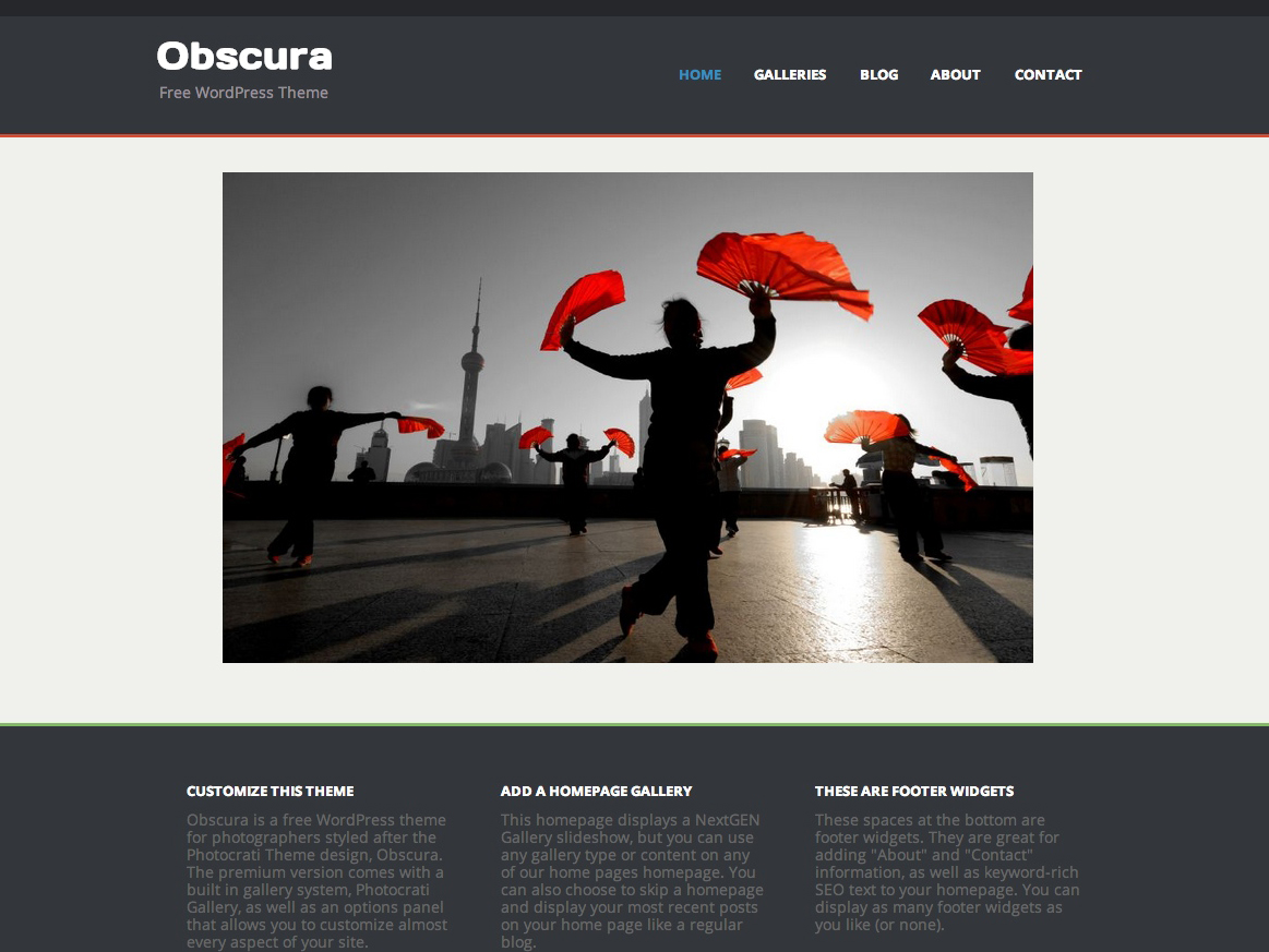 obscura free photography theme