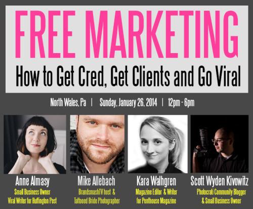 "We're Sponsoring a ""Free Marketing"" Workshop in Pennsylvania on Jan 26 2014"