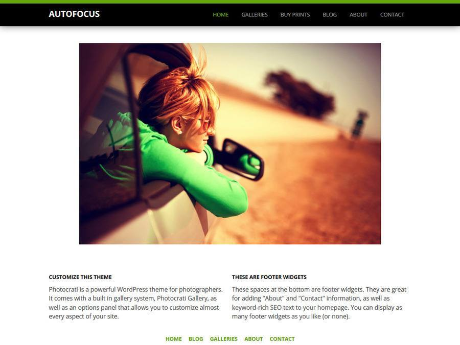 Autofocus Black Green WordPress Theme