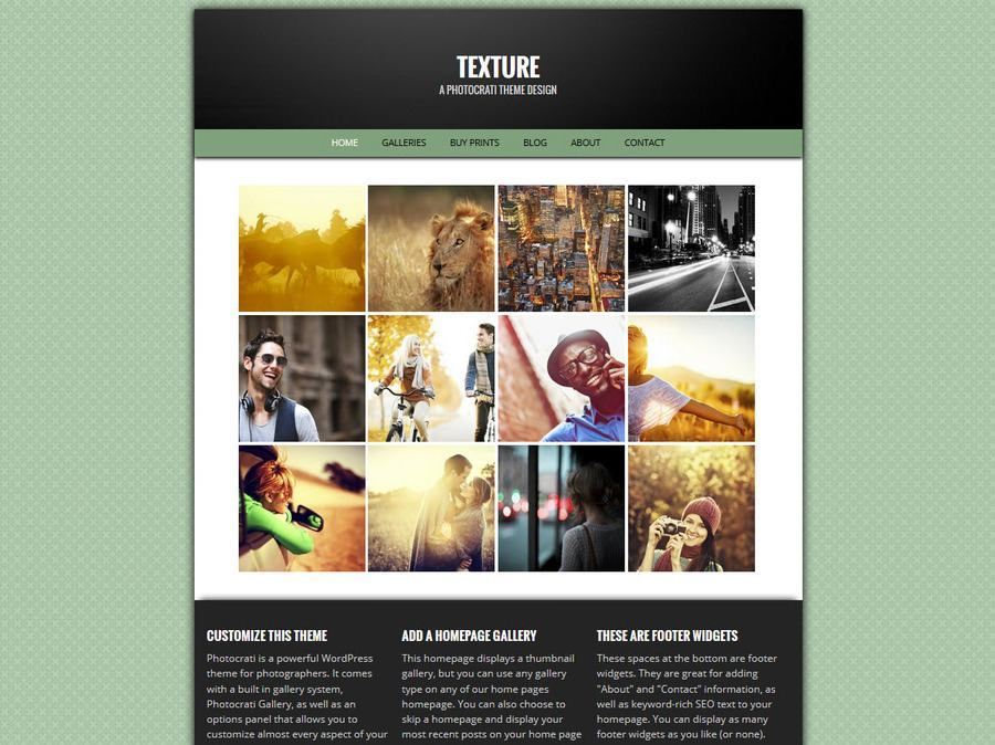 Texture Green WordPress Photography Theme